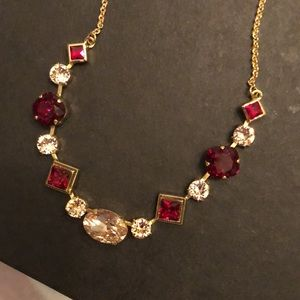 NWT Sorrelli Tennis Necklace, Red+Gold